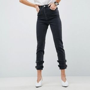High Waist Slim Mom Jeans with Buckle Detail